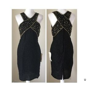 NWT Vintage Stenay 8 Silk Bead Sequins Dress Party